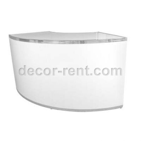 6 Feer Wide Curved White Plexi Bar Rental