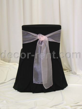 Black Offcie Chair Cover with Pink Organza Tie