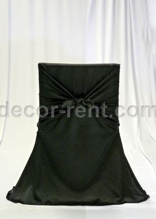 Black Satin Office Chair Cover. Rentals. Toronto.