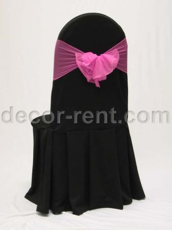 Black Tall Back Banquet Chair Cover with Hot Pink Mesh Sash.