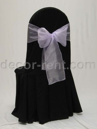 Black Tall Back Banquet Chair Cover with Lilac Organza Bow.