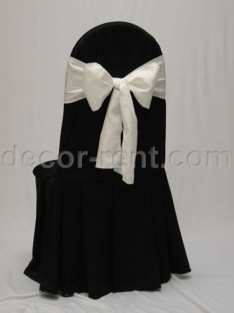 Black Tall Back Banquet Chair Cover with King Brocade Sash.
