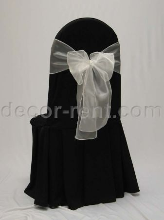 Black Tall Back Banquet Chair Cover with White Organza Bow.