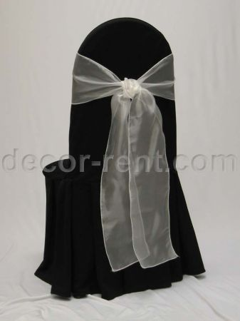 Black Tall Back Banquet Chair Cover with White Organza Tie.
