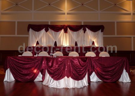 White and Burgundy Custom Backdrop and Head Table.