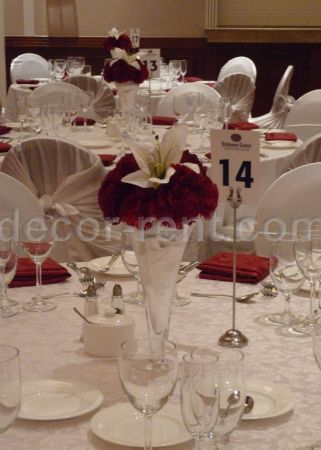 Burgundy and White Reception Table Setting.