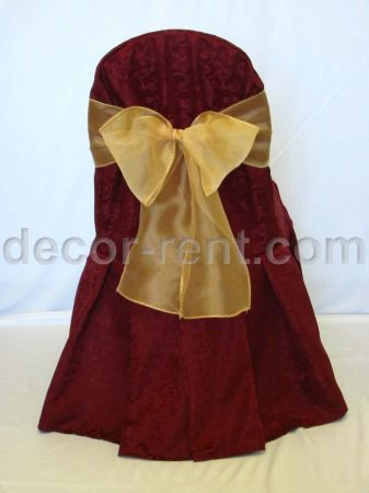 Burgundy King Brocade Banquet Chair Cover with Gold Organza Bow.
