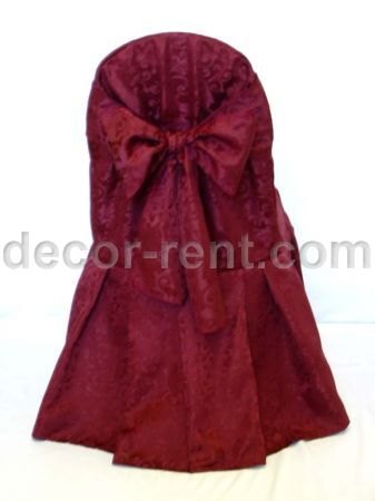 Burgundy King Brocade Banquet Chair Cover with King Bow.