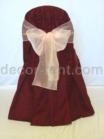 Burgundy King Brocade Banquet Chair Cover & Pink Organza Bow.