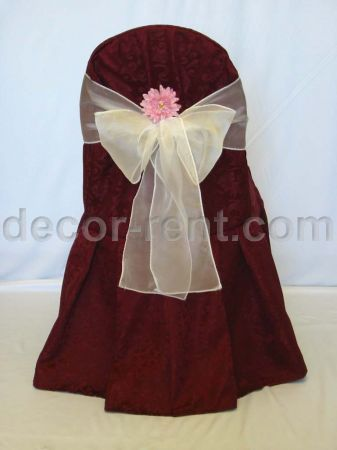 Burgundy King Brocade Banquet Chair Cover & White Organza Bow wi