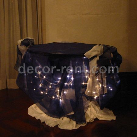 Cake Table Decor with Navy Organza