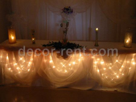 Champagne Headtable Decorations when lights are down