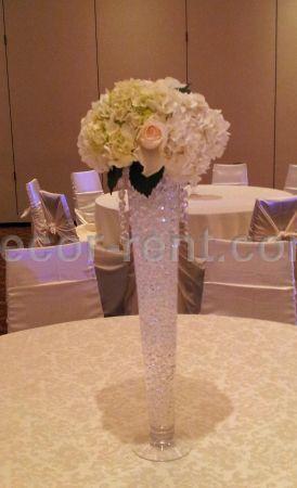 DECOR-RENT.COM - CREAM ROSES AND HYDRANGEA CENTERPIECE. TORONTO. on flower ball rentals, lighting rentals, flower table runner, flower chair covers,