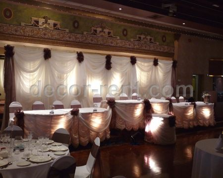 Custom Sheer Draping with Chocolate Accents