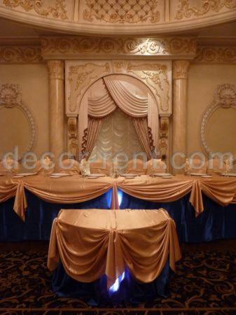 Head Table Decor. Gold and Royal Blue. by decor-rent.com Toronto