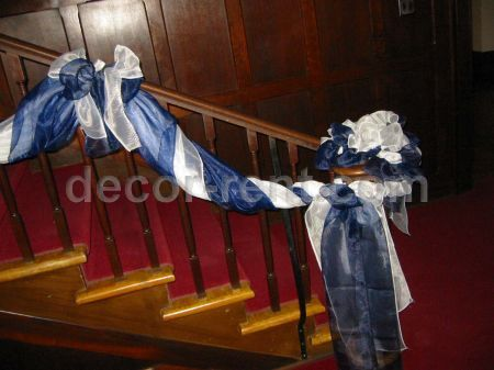 Stair Case Decor (navy and white organza)