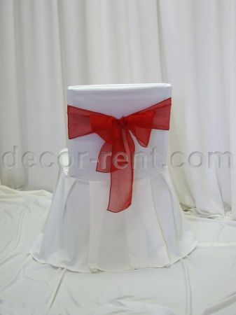 Ivory Offcie Chair Cover with Red Organza Sash