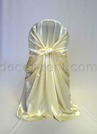 Ivory Satin Chair Wrap (pocket style)