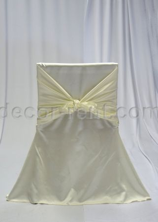 Ivory Satin Office Chair Cover. Toronto. Rent.