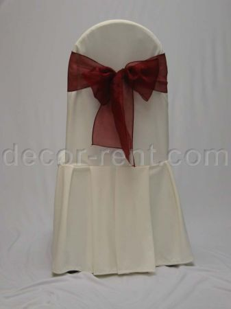 Ivory Tall Back Banquet Chair Cover with Burgundy Organza Bow.