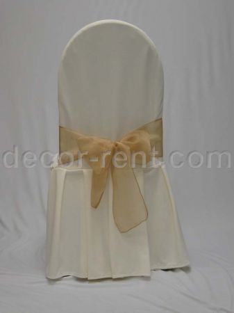 Ivory Tall Back Banquet Chair Cover with Gold Organza Bow.