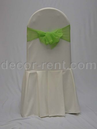 Ivory Tall Back Banquet Chair Cover with Lime Green Mesh Sash.