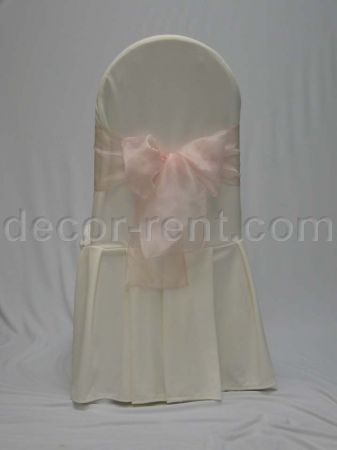 Ivory Tall Back Banquet Chair Cover with Pink Organza Bow.