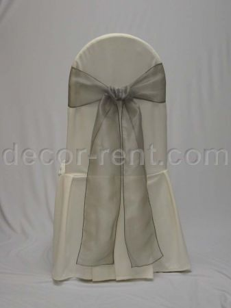 Ivory Tall Back Banquet Chair Cover with Sage Green Organza Tie.