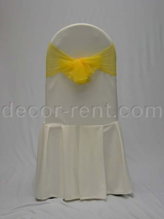 Ivory Tall Back Banquet Chair Cover with Yellow Mesh Sash.