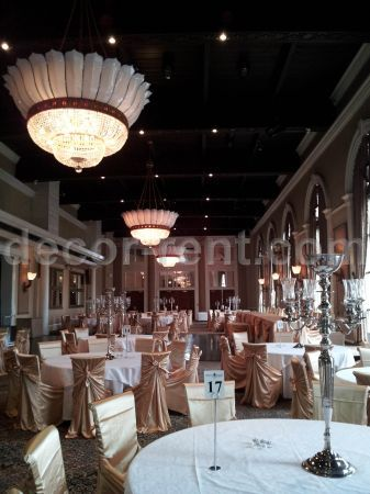 Wedding Reception Decor in Gold Satin at Liberty Grand Toronto.