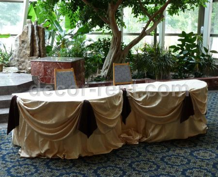 Soft Gold Brocade Receiving Table Draping