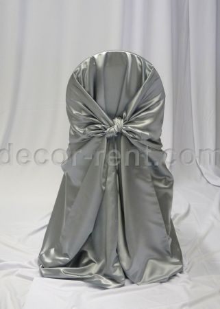 Silver Satin Chair Wrap. Toronto for rent.