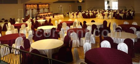 Soft Gold and Burgundy Event Setting