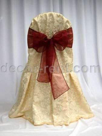 Soft Gold King Brocade Banquet Chair Cover with Burgundy Organza