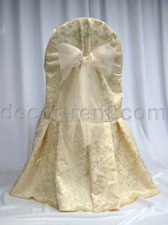 Soft Gold King Brocade Banquet Chair Cover with Champagne Organz