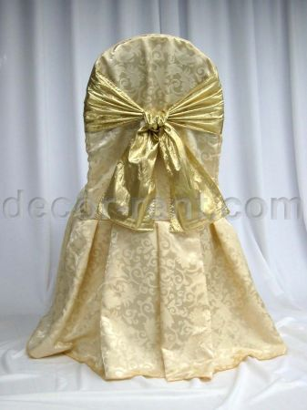 Soft Gold King Brocade Banquet Chair Cover with Gold Lame Tie (b
