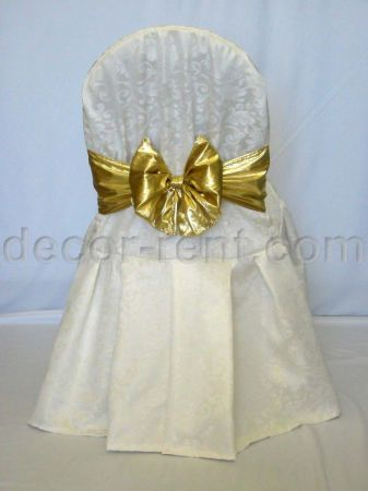 Warm White King Brocade Banquet Chair Cover & Gold Lame Bow.