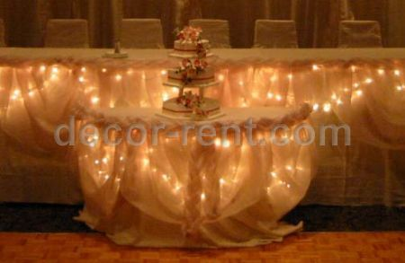 Wedding Cake Table Decor in Champage Organza (by AP CREATIONS).