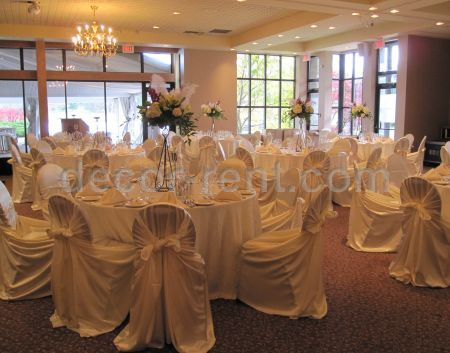 Ivory Satin Chair Covers. Reception at the Manor.