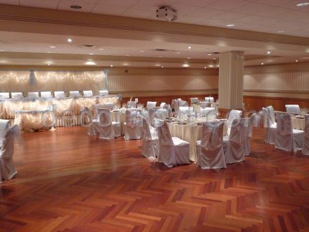 White Satin and Light Blue Organza Reception