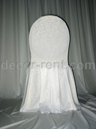 White Floral Damask Banquet Chair Cover (by AP CREATIONS).