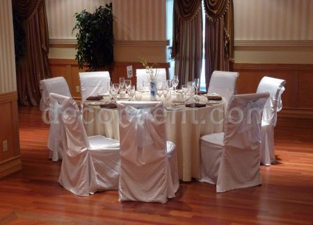 White, light blue and ivory table setting.