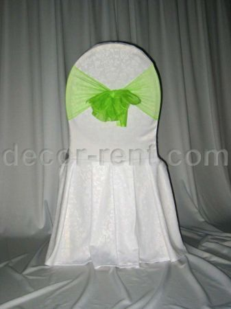White Floral Damask Banquet Chair Cover & Lime Green Mesh Sash