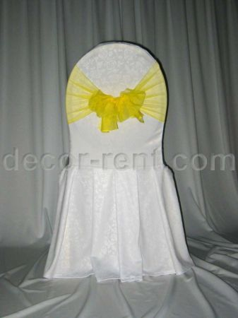 White Damask Banquet Chair Cover & Yellow Mesh Sash