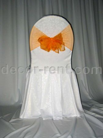 White Floral Damask Banquet Chair Cover & Orange Mesh Sash