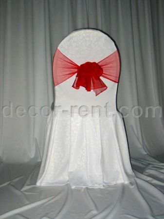White Floral Damask Banquet Chair Cover with Red Mesh Sash