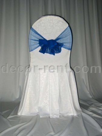 White Floral Damask Banquet Chair Cover & Royal Blue Mesh Sash
