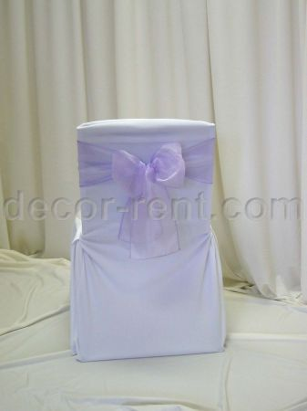 White Office Chair Cover with Lialc Organza Sash (flat back)