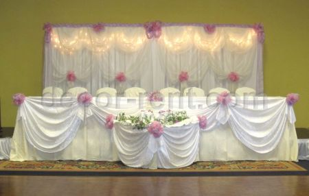 Custom White Organza Backdrop. Hot Pink, Lilac Accents.