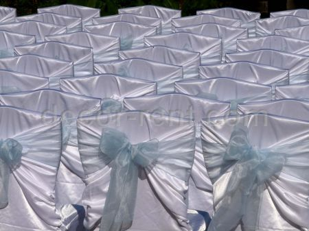 White Satin Chair Covers with Ligh Blue Organza Sashes